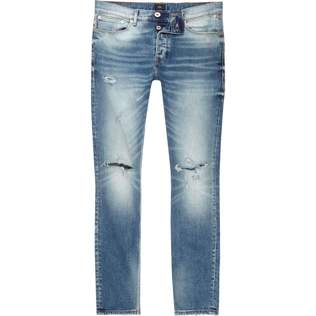 Mid blue Sid ripped knee skinny jeans