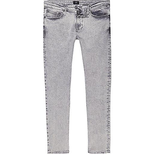 Grey acid wash Sid skinny jeans