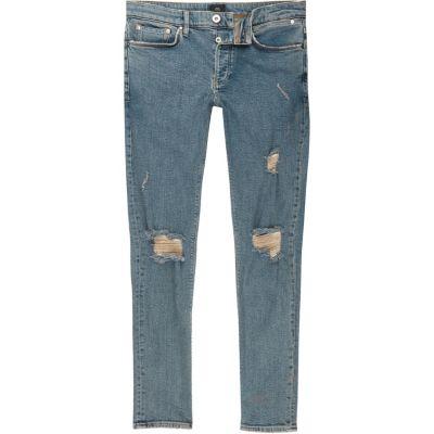 Sid Middenblauwe ripped skinny jeans