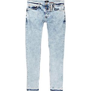Sid - Middenblauwe acid wash skinny jeans