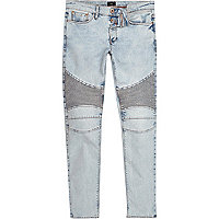 Light blue acid wash biker skinny jeans