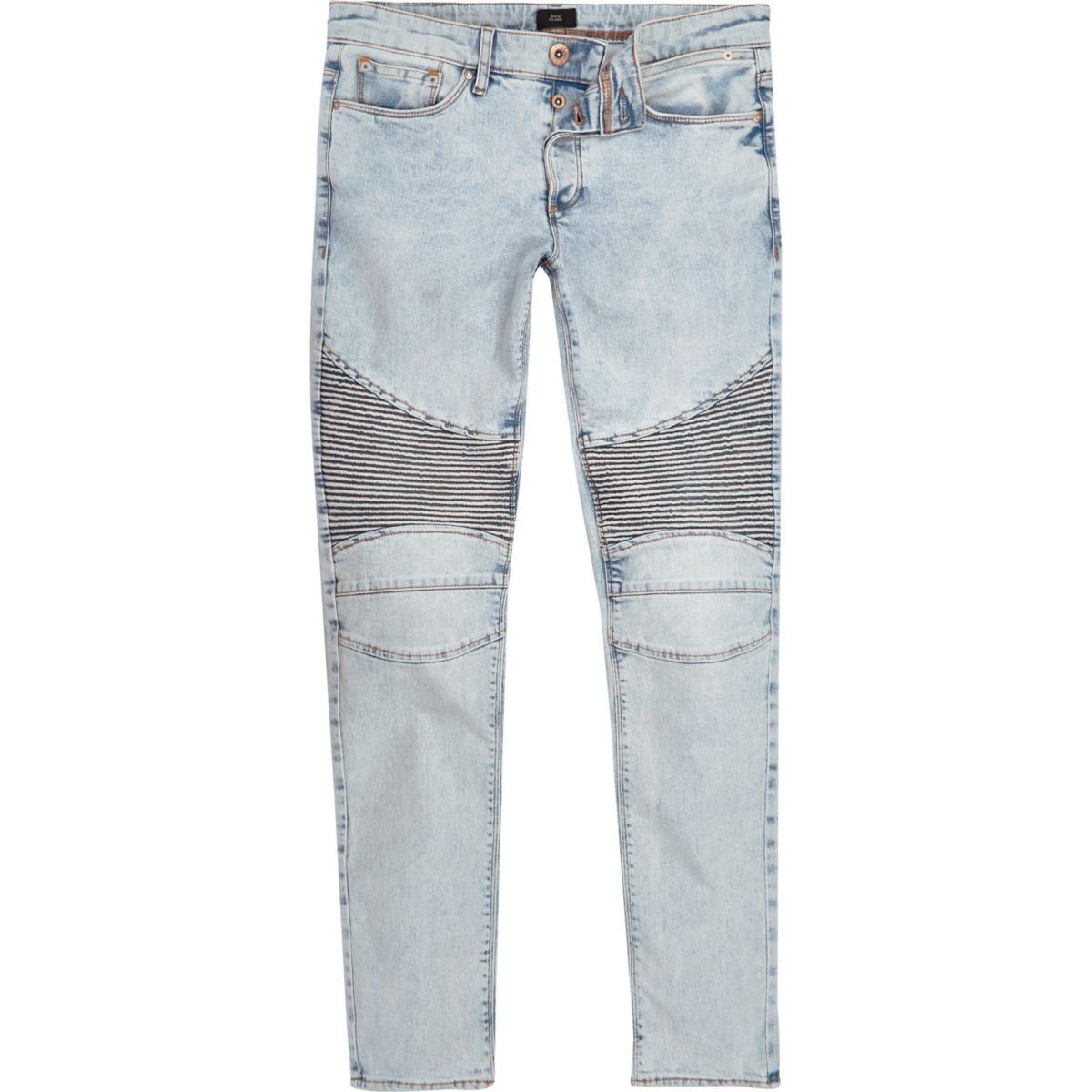 Light blue acid wash biker skinny jeans