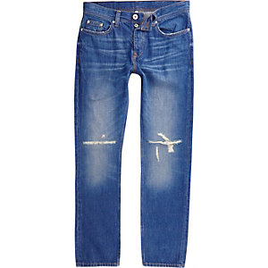 Mid blue Dylan distressed knee slim fit jeans