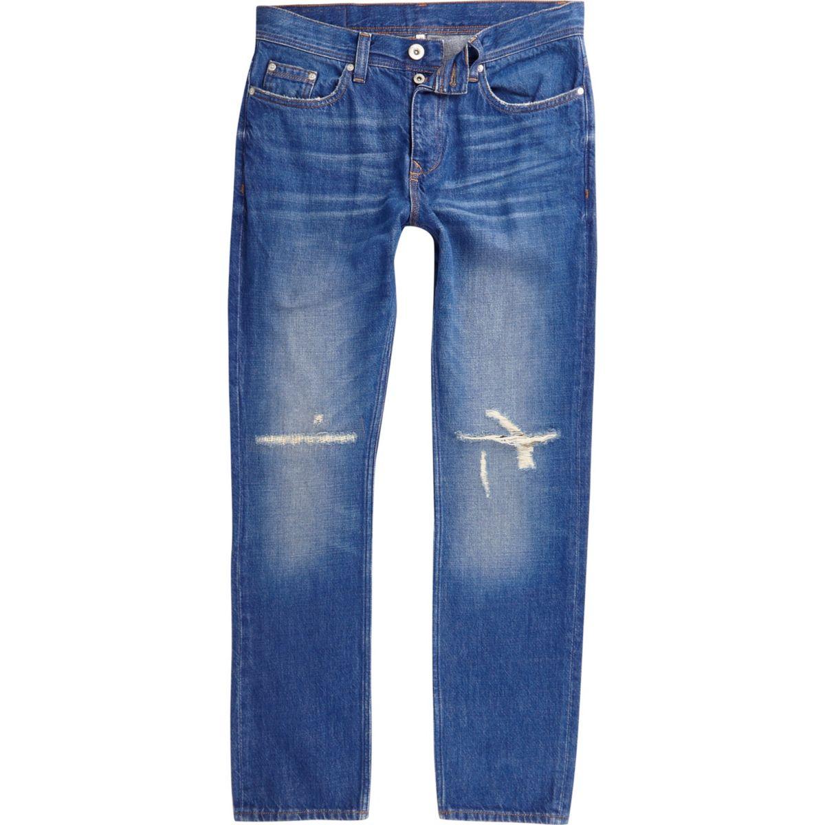 Mid blue Dylan distressed knee slim fit jeans