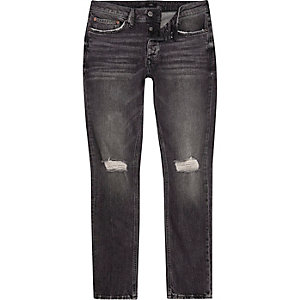 Dylan – Schwarze Slim Fit Jeans im Used-Look