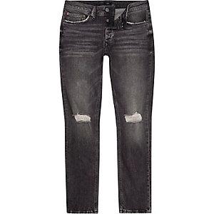 Dylan - Washed zwarte slim-fit jeans met gescheurde knie
