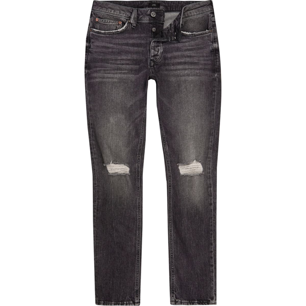 Washed black ripped knee Dylan slim fit jeans