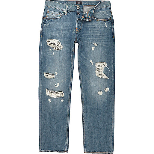 Mid blue loose distressed jeans