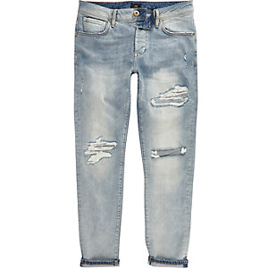 Mid blue fade ripped Jimmy slim tapered jeans