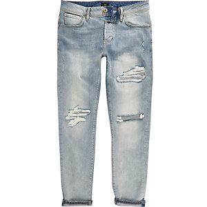 Jimmy - Middenblauwe ripped smaltoelopende jeans met kleurverloop