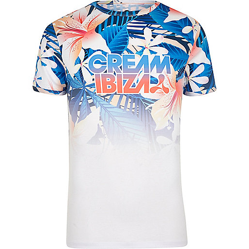 White 'Cream Ibiza' tropical print T-shirt