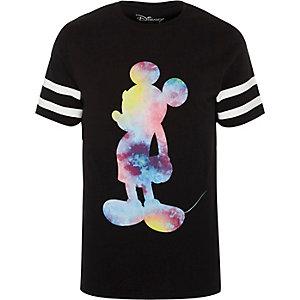 Zwart sportief slim-fit T-shirt met Mickey Mouse-print