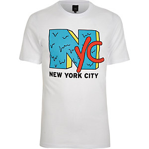 White 'NYC' print short sleeve T-shirt