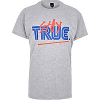 Grey marl 'Stay True' print T-shirt
