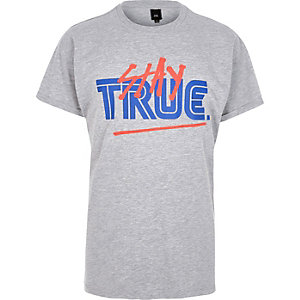 T-shirt imprimé « Stay True » gris chiné