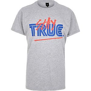 Grijs gemêleerd T-shirt met 'Stay True'-print