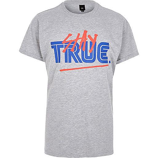 Grey marl 'Stay True' print T-shirt