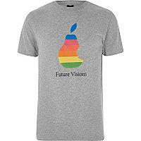 Grey marl 'Future Visions' print T-shirt