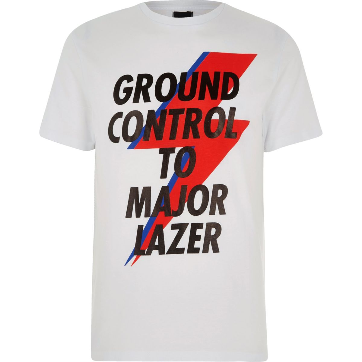 White 'Ground Control' print T-shirt