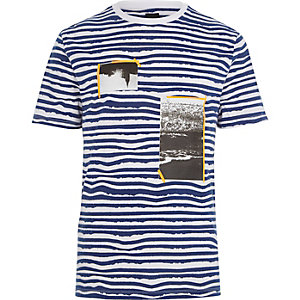 White and blue stripe photo print T-shirt