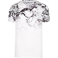 White cracked marble fade muscle fit T-shirt