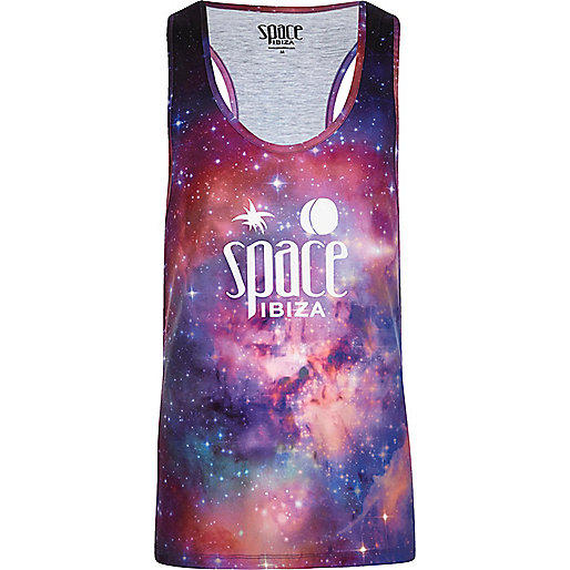 Pink 'Space Ibiza' print racer back vest