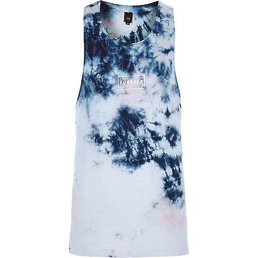 Light blue tie dye print dropped armhole tank
