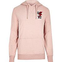 Pink 'ground control' print hoodie