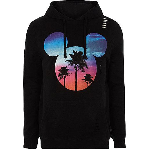 Black Mickey Mouse print hoodie