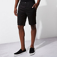 Black slim fit chino shorts