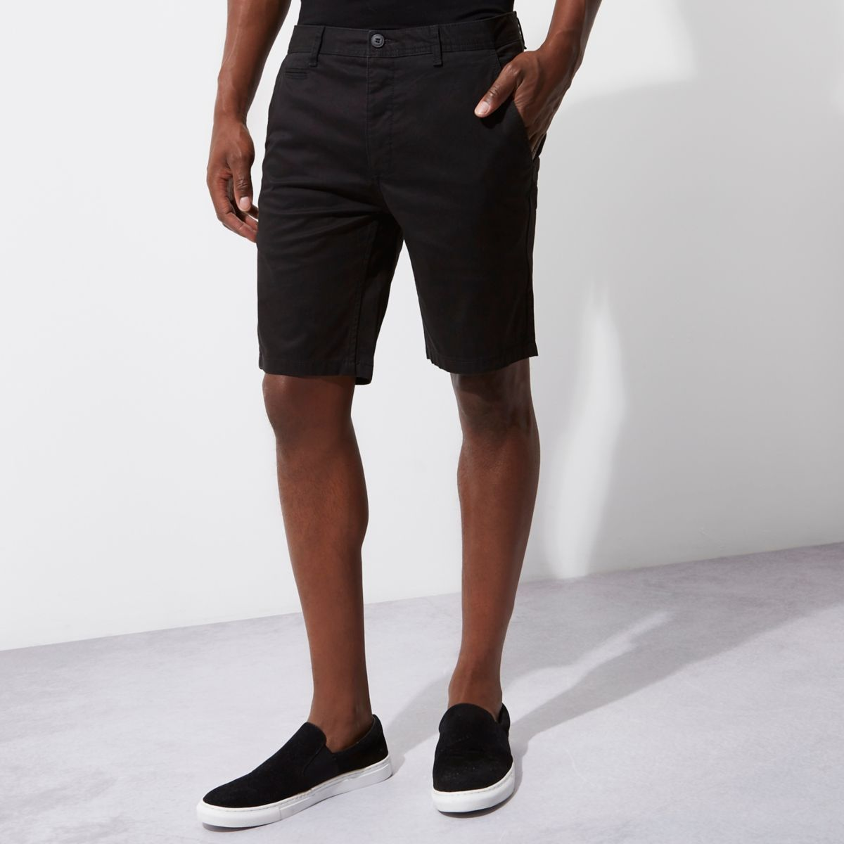 Zwarte slim-fit chino short