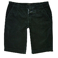 Dark green cord slim fit shorts