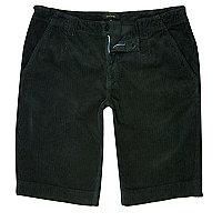 Dark green cord slim fit shorts