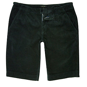 Dunkelgrüne Slim Fit Shorts