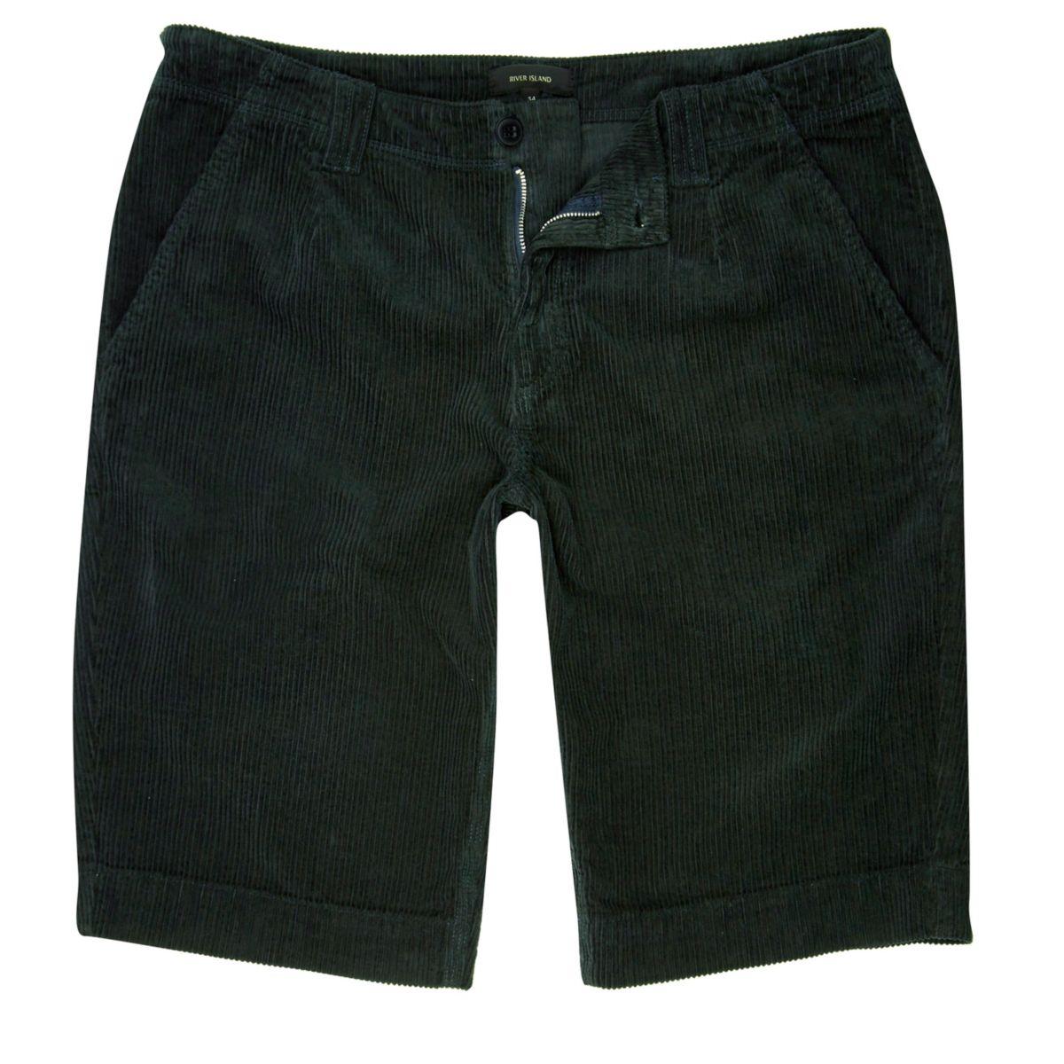 Dark Green Cord Slim Fit Shorts by River Island