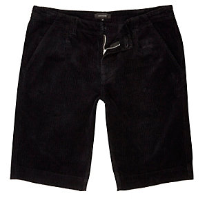 Black cord slim fit shorts
