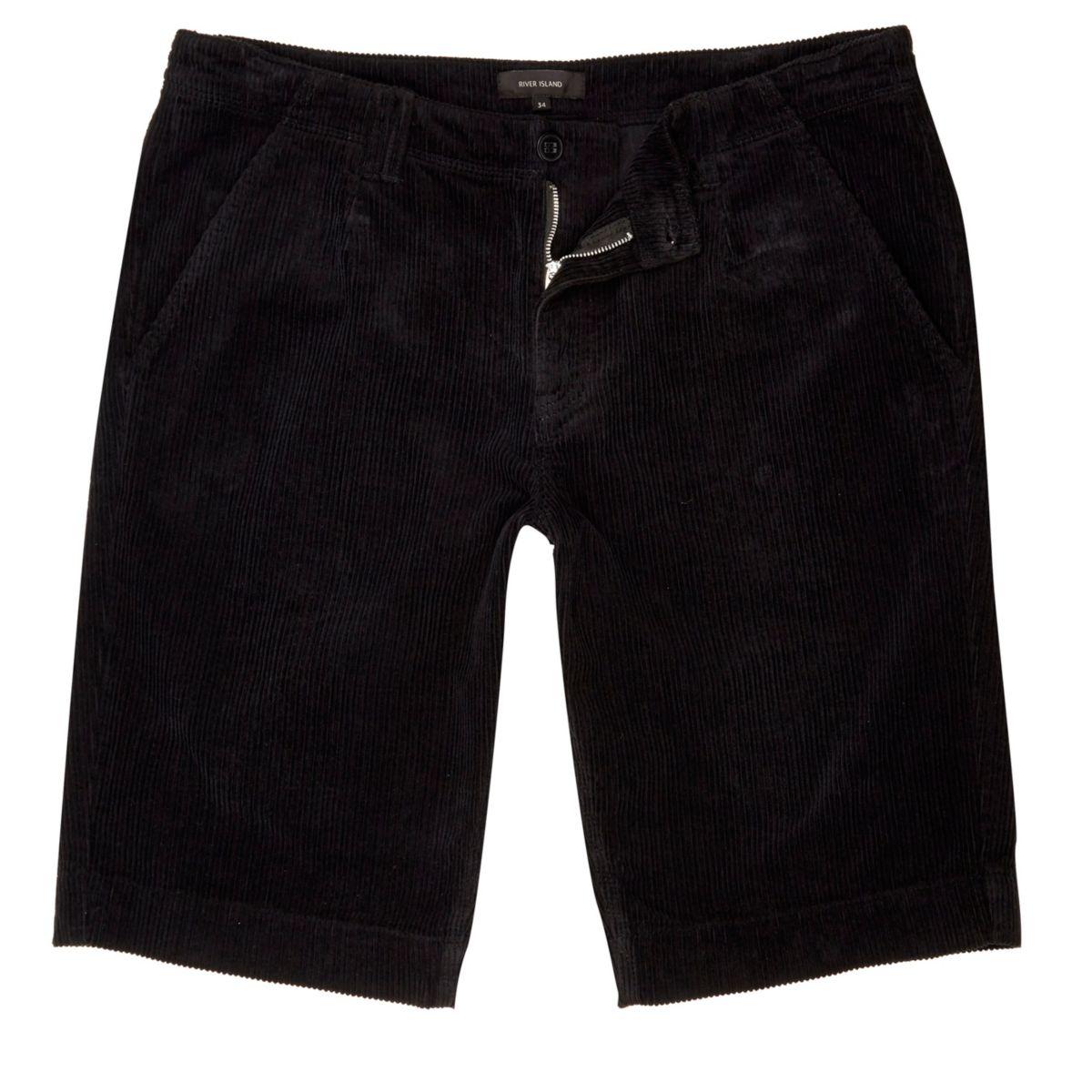 Black cord slim fit shorts