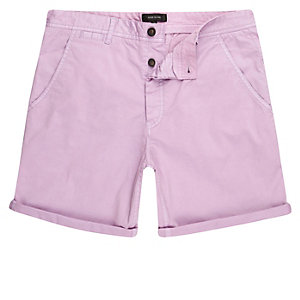 Light purple slim fit chino shorts