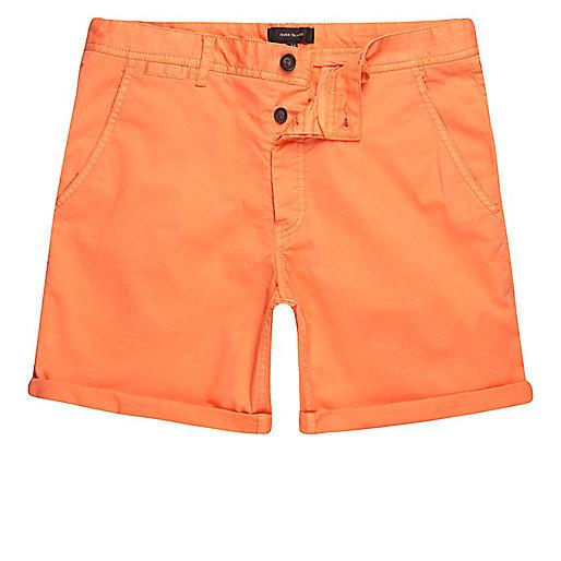 Orange slim fit chino shorts