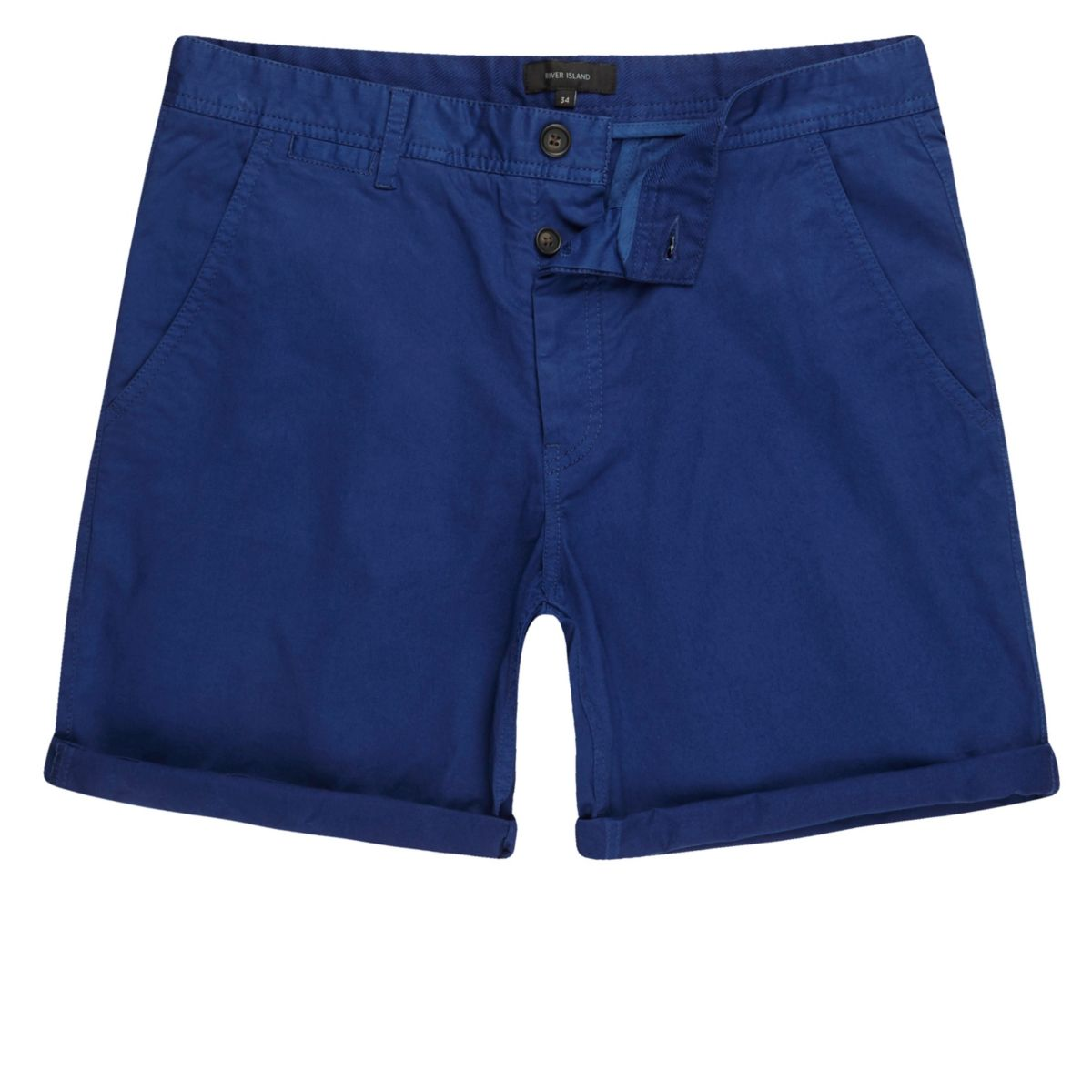 Blue slim fit chino shorts