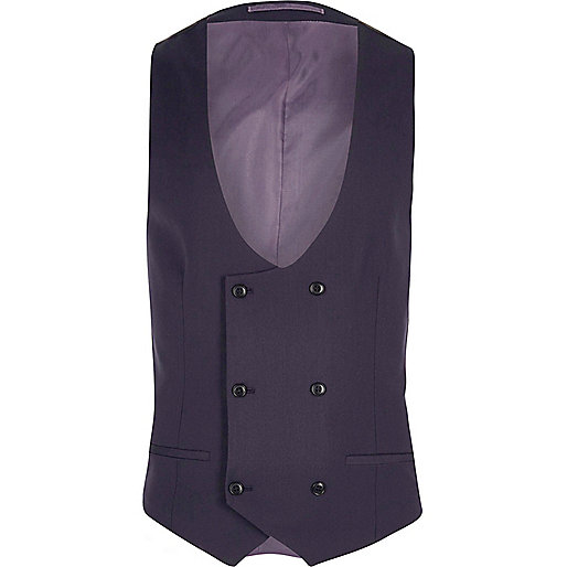 Purple double breasted suit vest