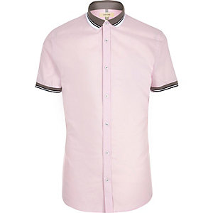 Pink rib collar short sleeve slim fit shirt