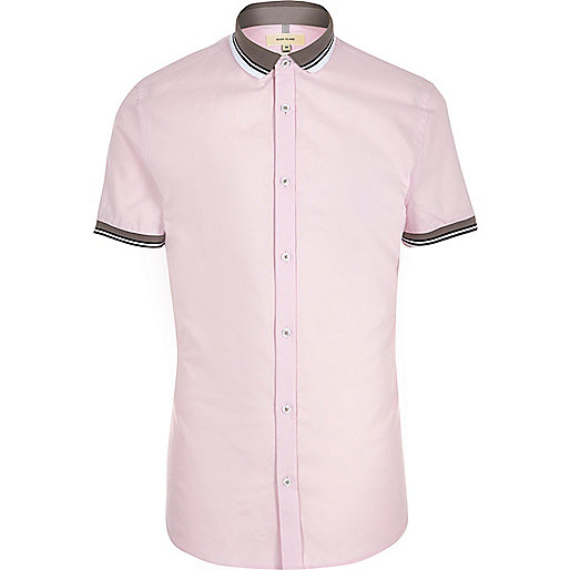 Pink rib collar short sleeve slim fit shirt