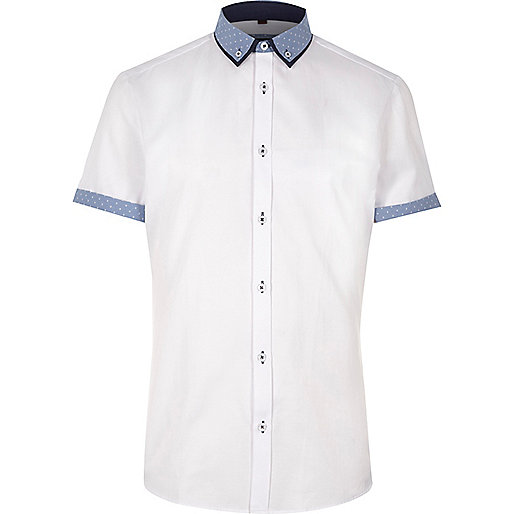 White contrast short sleeve slim fit shirt