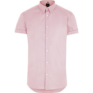 Pink muscle fit short sleeve shirt