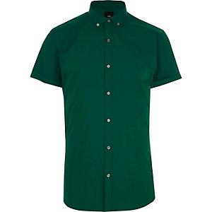 Chemise vert clair cintrée à manches courtes