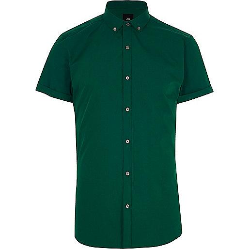 Dark green slim fit short sleeve shirt