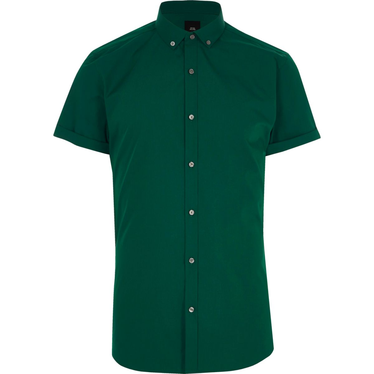 Dark green slim fit short sleeve shirt