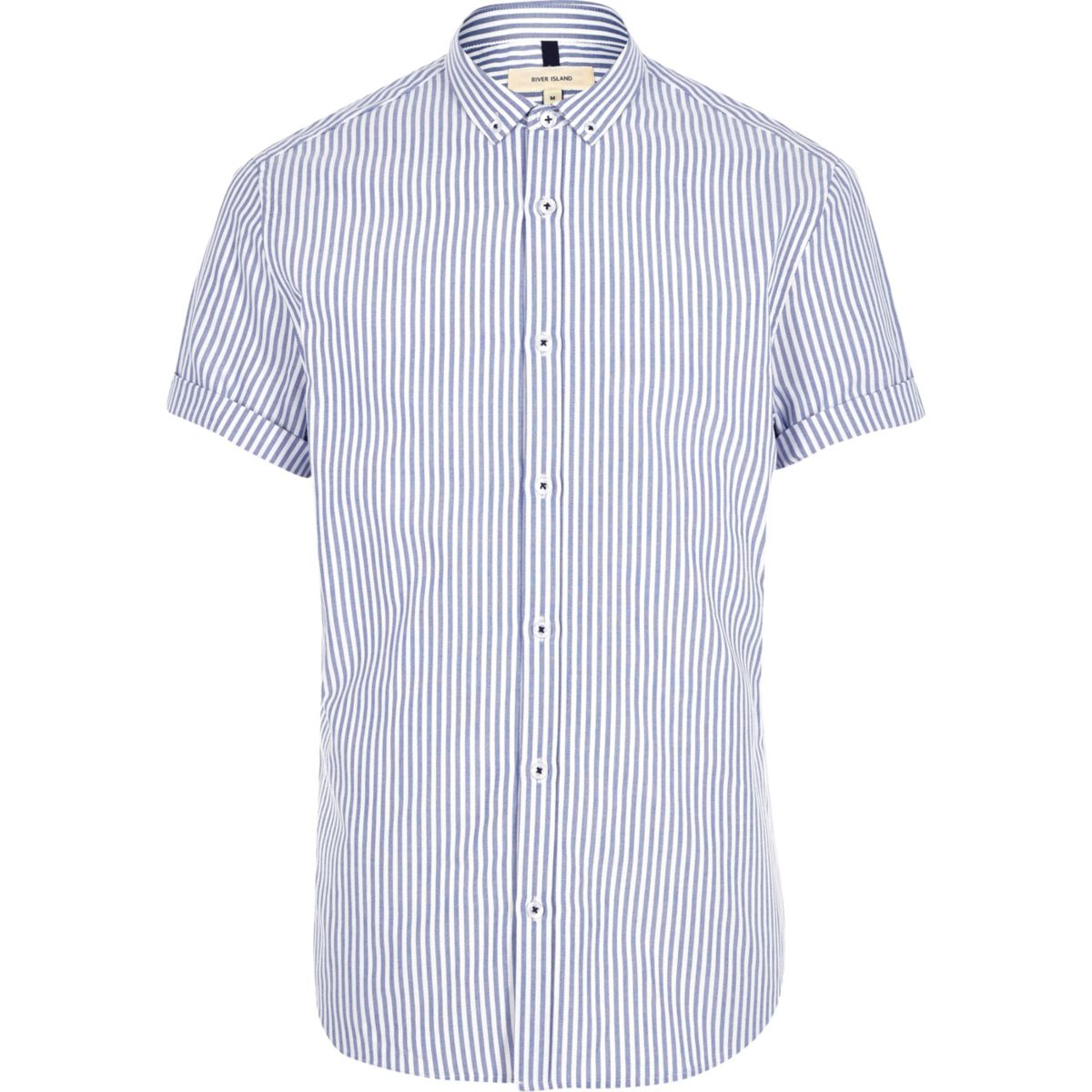 Blue stripe print short sleeve slim fit shirt