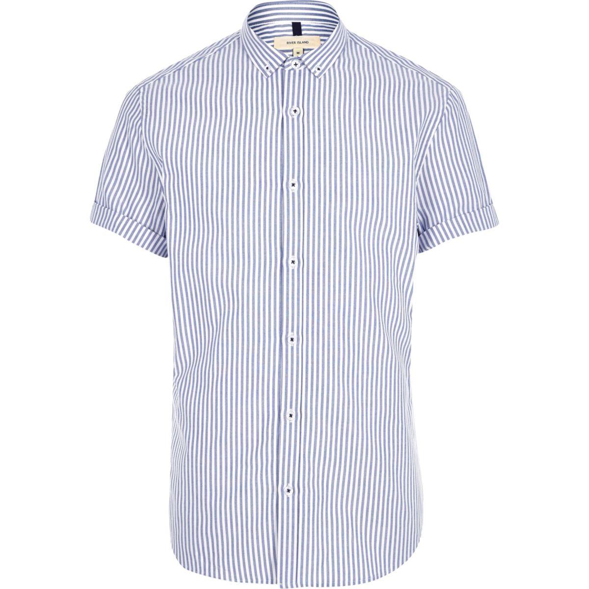 Blue stripe print short sleeve slim fit shirt